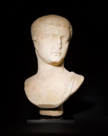 A Roman marble portrait bust of the Emperor Tiberius
