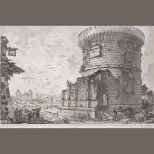 Francesco Piranesi (Italian, born circa 1758-1810) Five etchings from Antichità Romane Entitled Veduta del Sepolcro della Famigila Plauzia, 1761, Veduta di un sepeolcro antico, Veduta di una Camera Sepolcrale, Veduta di una parte della camera sepolcrale di Larrunzio, Veduta dell'ingresso della camera sepolcrale di Larrunzio, each printed on two pieces of wove, 430 x 595mm (16 7/8 x 23 3/8in)(and smaller) 5 unframed