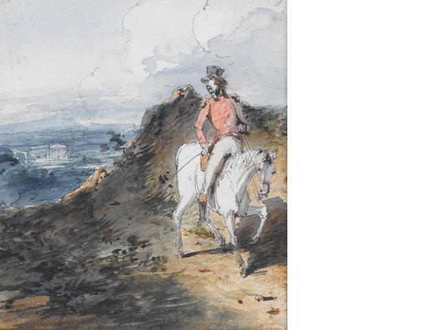 George Chinnery, RHA (British, 1774-1852) Captain Booth rides off to join his regiment, an illustration to Fielding's Amelia