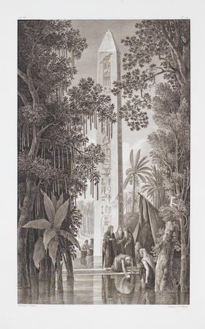After Louis-François Cassas A collection of early 19th Century engravings  Landscapes and city views in the Mediterranaean and North Africa, by various engravers including S.C.Miger, J.A.Pierron, J.B.Racine, Legrand, Levasseur, on thick laid paper, 668 x 515mm (24 1/4 x 20 1/4in)(and smaller)    Coll, 5 framed