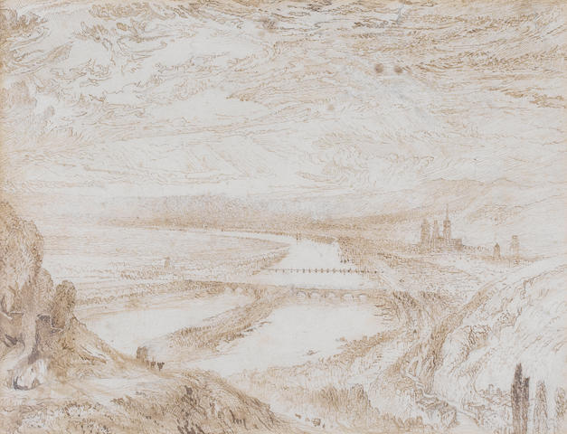 John Ruskin (British, 1819-1900) Rouen from St Catherine's Hill, after J.M.W.Turner's watercolour version, circa 1832