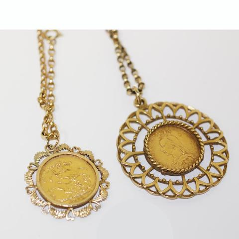 Two sovereign pendant necklaces, (2)