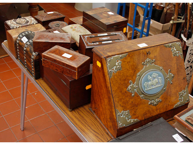 A collection of mostly 19th Century boxes,