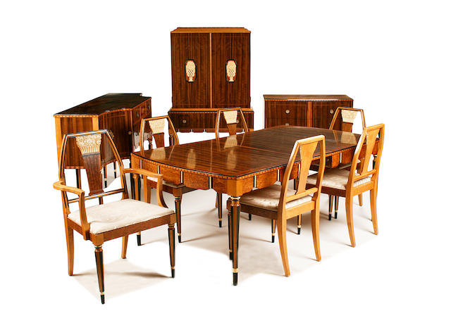 An Art Deco period 'tigerwood', burr walnut, maple, ivory-painted, ebonised and inlaid suite