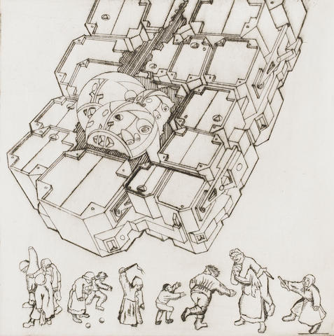 Sir Eduardo Paolozzi (British, 1924-2005) For Leonardo Engraving, 1987, on wove, signed and inscribed A/P in pencil, as included in the Artists' Choice portfolio, published and printed by the Royal College of Art, London, 305 x 305mm (12 x 12in)(SH) (unframed)