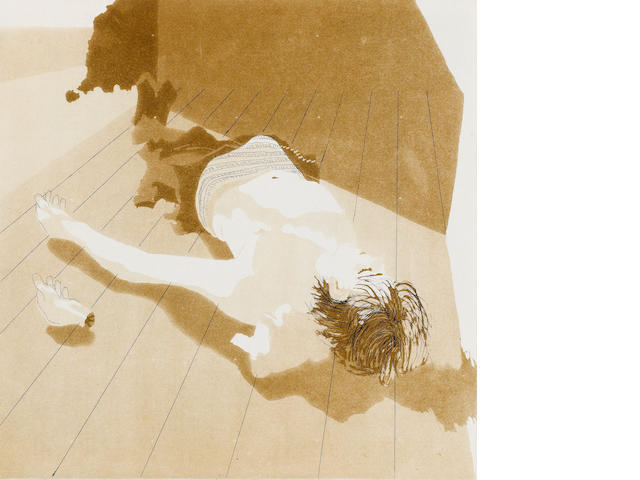 "Patrick Procktor (British, 1936-2003) At the Seahouse - A Severed Hand Etching, together with Ruskin Spear, ""Out For The Count"", Lithograph; John Hewitt, ""Big Race Winner"", Etching, 1987, each on wove, signed and inscribed A/P, as included in the Artists' Choice portfolio, published and printed by the Royal College of Art, London, each 305 x 305mm (12 x 12in)(SH) (unframed) 3"