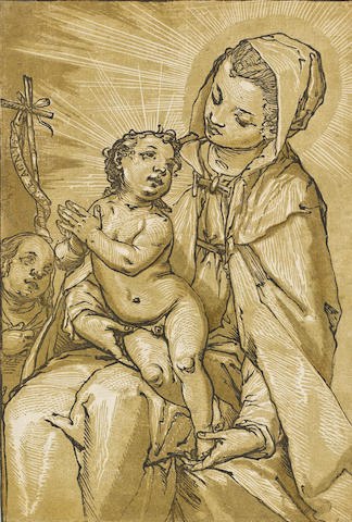 Andrea Andreani (Italian, 1560-1626) Madonna and Child Chiaroscuro woodcut, after Alessandro Casolani, printed from three blocks, on laid, 300 x 203mm (11 3/4 x 8in)(B) unframed