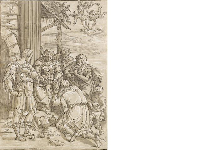 Andrea Andreani (Italian, 1560-1626) Adoration of the Magi Chiaroscuro woodcut from three blocks, a good impression, on thin laid, after Luini, 390 x 280mm (15 3/8 x 11in)(SH) unframed