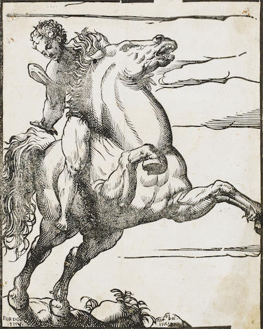 "Niccolo Boldrini (Italian, 1510-1566) A Collection Woodcuts, ""Venus and Cupid"" (B.24) after Titian, two copies, ""The Horseman"" after Pordenone, ""Hercules strangling the lion"" after Raphael, ""St Francis receiving the Stigmata"" after Titian. 5 unframed"