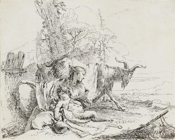 Giovanni Battista Tiepolo (Venice 1696-1770 Madrid) Woman, Satyr child and Goat in a landscape Etching, on laid, with trimmed or thread margins; 140 x 170mm (5 1/2 x 6 5/8in)(PL)