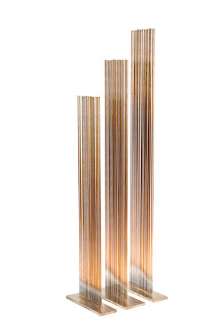 Val Bertoia (American, born 1949) 3 Tones of E, Sculpture #B-1603 2009  beryllium-copper rods silvered to the brass 69 by 21.5 cm. 27 3/16 by 8 7/16in.                          This work was executed in 2009.