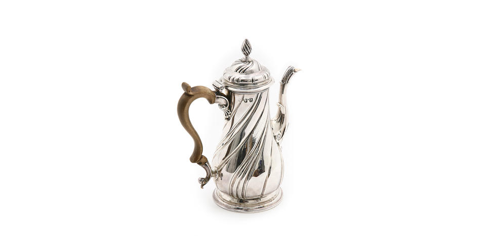 A George II silver coffee pot, by Gurney & Cooke, London 1756,