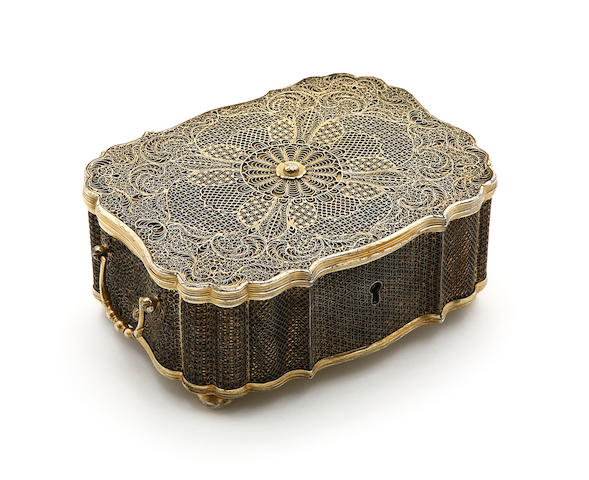 An 18th century Chinese export silver-gilt two-handled casket, apparently unmarked, Canton, circa 1750,