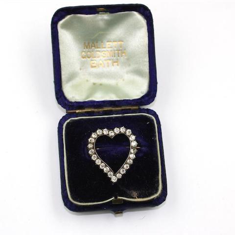 A 19th century diamond set heart brooch