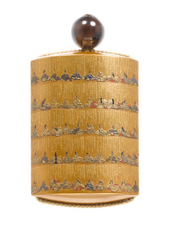 A rare gold lacquer four-case inro By Koami Nagaharu, dated 1852