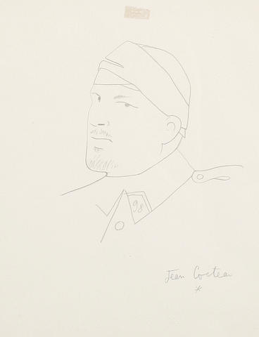Jean Cocteau (French, 1889-1963) Portrait of Guillaume Apollinaire, circa 1917