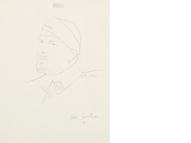 Jean Cocteau (French, 1892-1963) Portrait of Guillaume Apollinaire, circa 1917