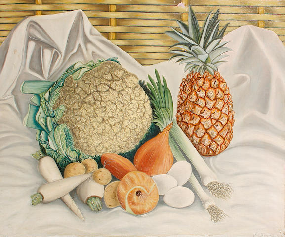 Edouard Dermit (French, 1925-1995) Still life of pineapple and vegetables