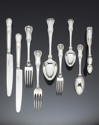 A George III silver Hour Glass pattern flatware and cutlery service, by Paul Storr, London 1814 - 1819,  (84)