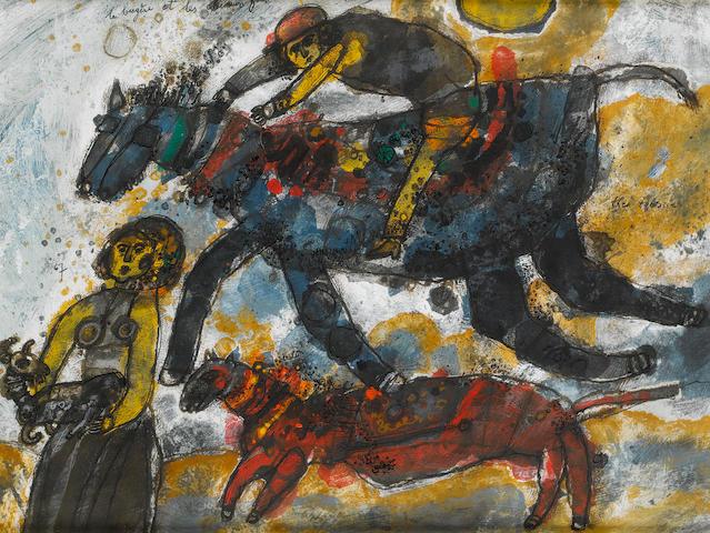 Théo Tobiasse (Israeli/French, born 1927) La bergère et les chevaux fous