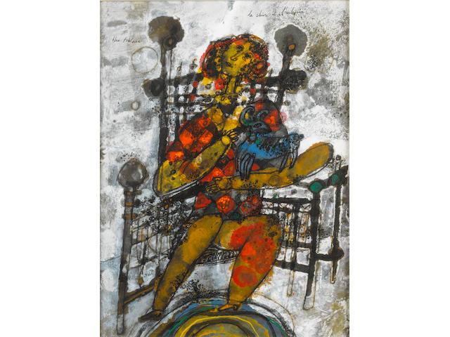 Théo Tobiasse (Israeli/French, born 1927) La chevre et l'harlequin