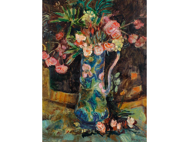 David Peretz (French, born 1906) Still life of pink carnations in a patterned vase