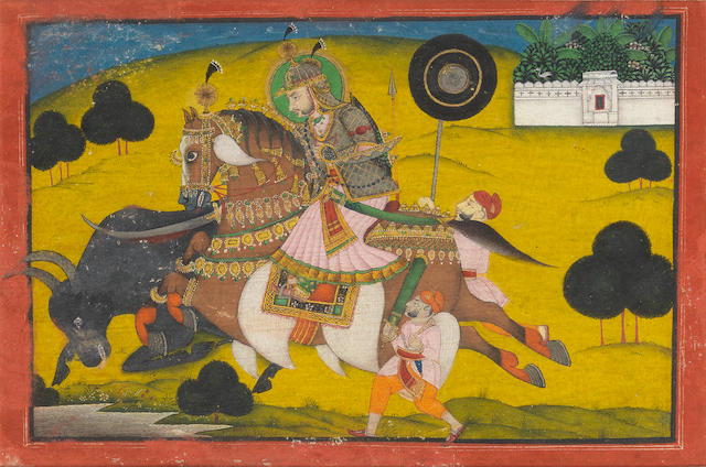 Maharajah Ram Singh of Kotah (1827-1865) on horseback hunting buffalo, attendants alongside Kotah, circa 1850