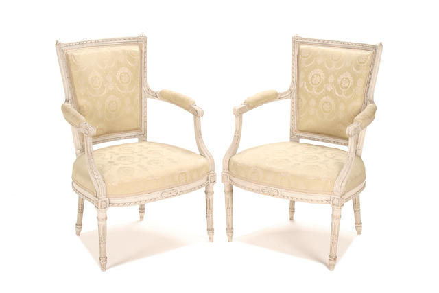 A pair of French mid 19th century grey painted fauteuils