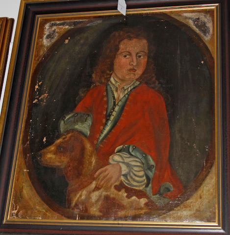 English Provincial School, 19th Century Portrait of a gentleman and hound