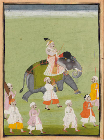 A ruler, possibly Pratap Singh II, riding an elephant, attendants alongside Mewar, mid-18th Century