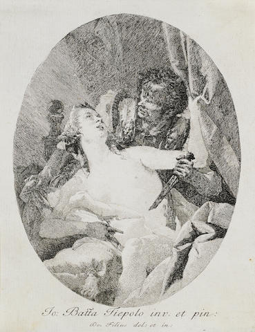 Giovanni Domenico Tiepolo (Venice 1727-1804) Tarquin and Lucretia Etching, a good impression, on laid, trimmed on or just inside the platemark; 230 x 180mm (9 x 7in)(SH) unframed