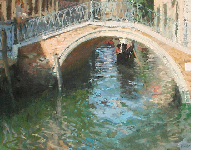 Peter Kuhfeld (British, born 1952) 'The little bridge, Venice; summer morning'