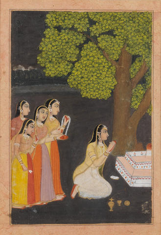 Bhairavi Ragini: a lady worshipping at a lingam shrine with attendants Provincial Mughal, Rajasthan, 18th Century