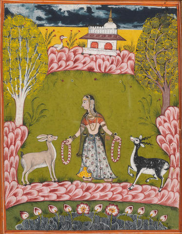 Todi Ragini: a maiden with gazelles in a landscape Marwar, second half of the 18th Century