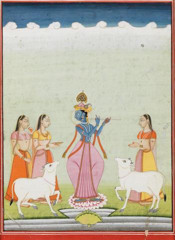 Krishna fluting to the gopis Bikaner