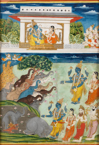Vishnu with elephants