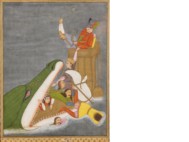 A sea-monster attacking a ship, the crew resisting Provincial Mughal, perhaps Oudh, late 18th/early 19th Century
