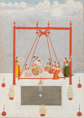 A prince in a swing with attendants Mewar