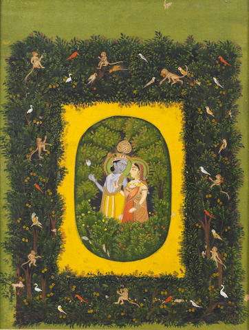 Radha and Krishna in a bower representing the golden egg of creation, the surrounding trees and bushes inhabited by monkeys and birds Lucknow or Faizabad, in the style of Mir Kalan Khan, circa 1770