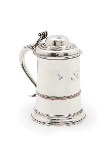 A George III Old Sheffield plate lidded tankard, unmarked, circa 1780,