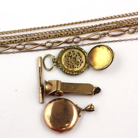 A collection of assorted gold and yellow precious metal jewellery