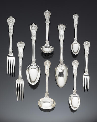 A silver Queens pattern table service of flatware, predominately by William  II, Charles & Henry Eley or Charles Eley, London 1824,  (Qty)