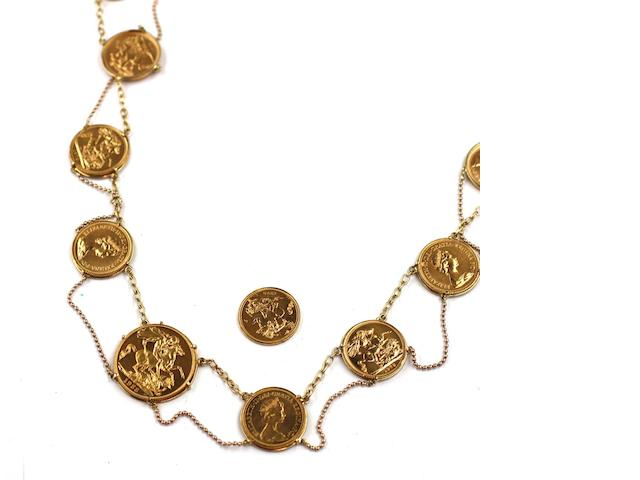 A coin necklace Composed of ten Elizabeth II sovereigns, 1978 (x9) and 1988, to central £2 coin, 1988, in in claw mounts linked by sections of belcher-link chain, with bead-link chain swags below,