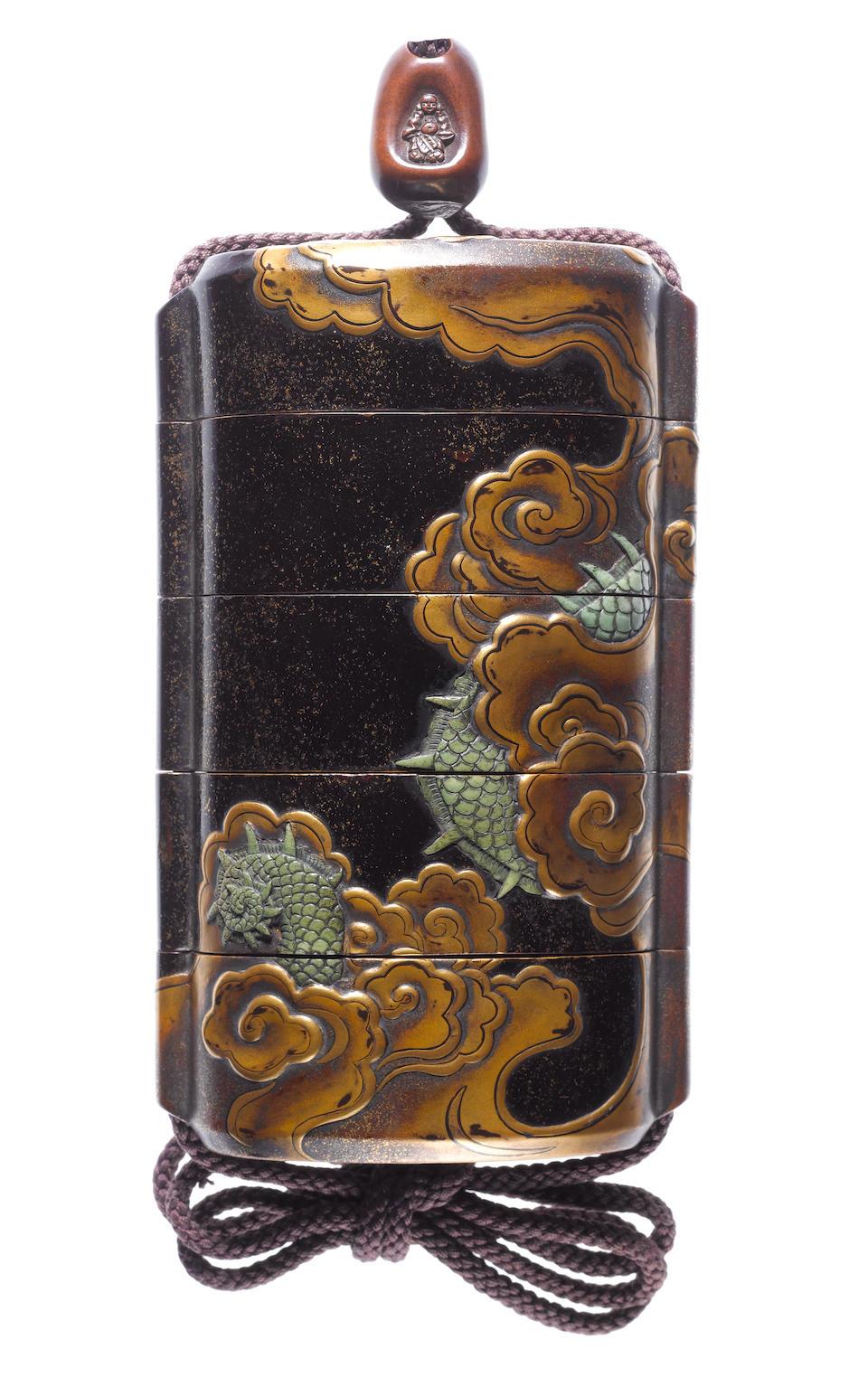 An unusually large four-case inro By Kajikawa Kyujiro, dated 1647
