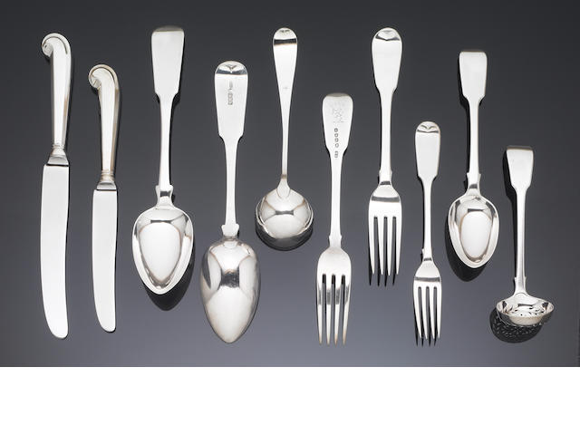 A matched 19th century silver Fiddle pattern table service of flatware, various maker's and towns, 1806-78,  an Old English pattern sauce ladle and pair of sauce ladles.(Qty)