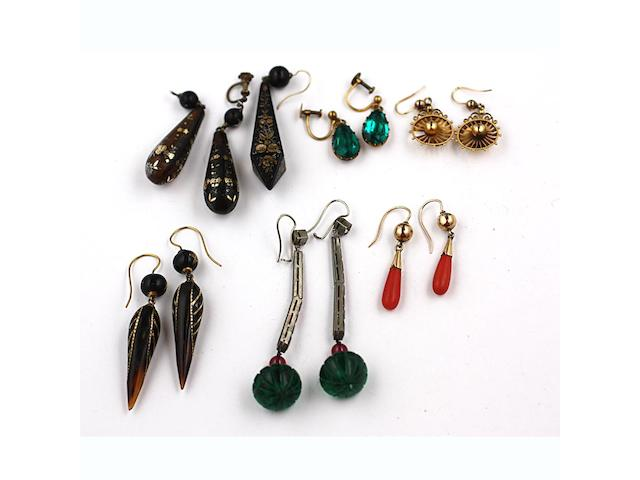 A collection of antique earrings