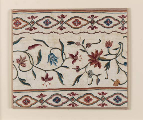 Two silk embroidered cotton Panels India, ??(2)