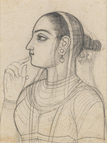 A portrait of a courtesan in profile Provincial Mughal, perhaps Jaipur, circa 1780-1800