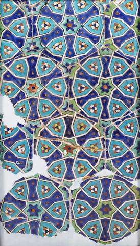 A Timurid cuerda seca pottery Tile Panel Samarkand, Central Asia, circa 1380