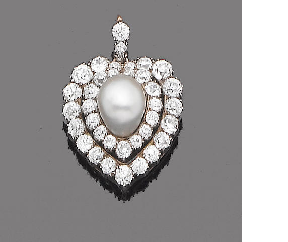 A late 19th century pearl and diamond pendant/brooch,